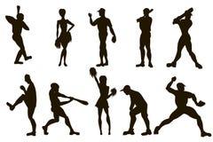 Διανυσματικό συρμένο χέρι σύνολο παίχτες του μπέιζμπολ και μαζορέτες $cu ελεύθερη απεικόνιση δικαιώματος