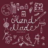 Διανυσματικό συρμένο χέρι σύνολο εικονιδίων χεριού - γίνοντα εργαλεία Στοκ Εικόνες
