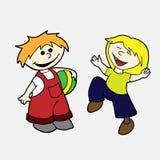 Διανυσματικό συρμένο χέρι σύνολο - ευτυχή παιδιά Στοκ εικόνες με δικαίωμα ελεύθερης χρήσης