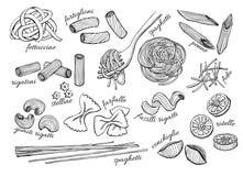 Διανυσματικό συρμένο χέρι σύνολο ζυμαρικών Εκλεκτής ποιότητας απεικόνιση τέχνης γραμμών Στοκ Φωτογραφίες
