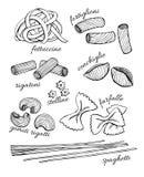 Διανυσματικό συρμένο χέρι σύνολο ζυμαρικών Εκλεκτής ποιότητας απεικόνιση τέχνης γραμμών Στοκ Εικόνα