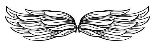 Διανυσματικό συρμένο χέρι φτερό διανυσματική απεικόνιση