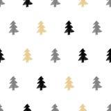 Διανυσματικό συρμένο χέρι χριστουγεννιάτικο δέντρο, άνευ ραφής σχέδιο έλατου σε εθνικό Στοκ Φωτογραφίες
