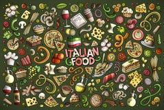 Διανυσματικό συρμένο χέρι doodle σύνολο κινούμενων σχεδίων ιταλικών αντικειμένων τροφίμων Στοκ φωτογραφία με δικαίωμα ελεύθερης χρήσης