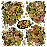 Διανυσματικό συρμένο χέρι doodles σύνολο κινούμενων σχεδίων συνδυασμών τροφίμων της Ιαπωνίας αντικειμένων Στοκ Φωτογραφία