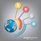 Διανυσματικό σφαιρικό πρότυπο infographics για 4 επιλογές Μπορέστε να χρησιμοποιηθείτε για το σχεδιάγραμμα ροής της δουλειάς, έμβ Στοκ Εικόνες