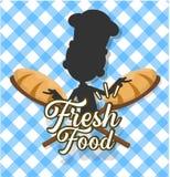 Διανυσματικό σχέδιο απεικόνισης αρχιμαγείρων - πρότυπο λογότυπων αρτοποιείων στοκ εικόνες