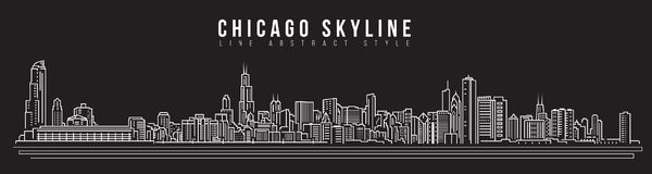 Διανυσματικό σχέδιο απεικόνισης τέχνης γραμμών κτηρίου εικονικής παράστασης πόλης - ορίζοντας του Σικάγου Στοκ Εικόνα