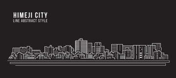 Διανυσματικό σχέδιο απεικόνισης τέχνης γραμμών κτηρίου εικονικής παράστασης πόλης - πόλη του Himeji Στοκ Εικόνες