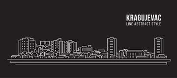 Διανυσματικό σχέδιο απεικόνισης τέχνης γραμμών κτηρίου εικονικής παράστασης πόλης - πόλη Kragujevac Στοκ φωτογραφία με δικαίωμα ελεύθερης χρήσης