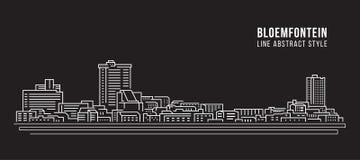 Διανυσματικό σχέδιο απεικόνισης τέχνης γραμμών κτηρίου εικονικής παράστασης πόλης - πόλη του Bloemfontein Στοκ Φωτογραφίες
