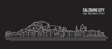 Διανυσματικό σχέδιο απεικόνισης τέχνης γραμμών κτηρίου εικονικής παράστασης πόλης - πόλη του Σάλτζμπουργκ διανυσματική απεικόνιση