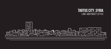 Διανυσματικό σχέδιο απεικόνισης τέχνης γραμμών κτηρίου εικονικής παράστασης πόλης - πόλη Tartus, Συρία διανυσματική απεικόνιση