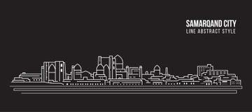 Διανυσματικό σχέδιο απεικόνισης τέχνης γραμμών κτηρίου εικονικής παράστασης πόλης - πόλη Samarqand ελεύθερη απεικόνιση δικαιώματος
