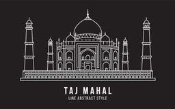 Διανυσματικό σχέδιο απεικόνισης τέχνης γραμμών κτηρίου ορόσημων - Taj Mahal Ινδία διανυσματική απεικόνιση