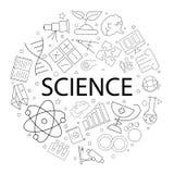 Διανυσματικό σχέδιο επιστήμης με τη λέξη Ανασκόπηση επιστήμης στοκ εικόνες