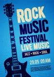 Διανυσματικό σχέδιο ιπτάμενων ή αφισών γεγονότος συναυλίας φεστιβάλ βράχου απεικόνισης με την κιθάρα και τα εκλεκτής ποιότητας απ απεικόνιση αποθεμάτων