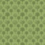 Διανυσματικό σχέδιο με τα δέντρα και τους Μπους στο πράσινο υπόβαθρο Στοκ Εικόνες