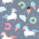 Διανυσματικό σχέδιο με τους χαριτωμένους μονοκέρους, τα σύννεφα, donuts και το παγωτό διανυσματική απεικόνιση