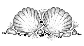Διανυσματικό σχέδιο με το διαστιγμένο κοχύλι ή το όστρακο θάλασσας και χαλίκια στο Μαύρο που απομονώνεται στο άσπρο υπόβαθρο Οριζ διανυσματική απεικόνιση