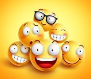 Διανυσματικό σχέδιο προσώπου Smileys με την ομάδα εύθυμων ευτυχών φίλων απεικόνιση αποθεμάτων