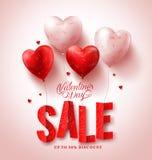 Διανυσματικό σχέδιο πώλησης ημέρας βαλεντίνων με τα κόκκινα μπαλόνια μορφής καρδιών στο άσπρο υπόβαθρο Στοκ εικόνες με δικαίωμα ελεύθερης χρήσης