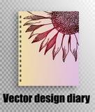 Διανυσματικό σχέδιο σχεδιαγράμματος για την κάλυψη ημερολογίων, σημειωματάριο ελεύθερη απεικόνιση δικαιώματος