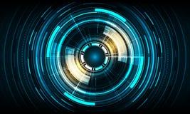 Διανυσματικό σχέδιο τεχνολογίας κύκλων στο μπλε υπόβαθρο χρώματος Στοκ εικόνες με δικαίωμα ελεύθερης χρήσης
