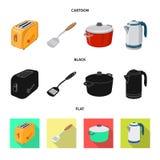 Διανυσματικό σχέδιο του εικονιδίου κουζινών και μαγείρων Σύνολο συμβόλου αποθεμάτων κουζινών και συσκευών για τον Ιστό διανυσματική απεικόνιση