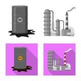 Διανυσματικό σχέδιο του εικονιδίου πετρελαίου και φυσικού αερίου Σύνολο διανυσματικού εικονιδίου πετρελαίου και βενζίνης για το α διανυσματική απεικόνιση