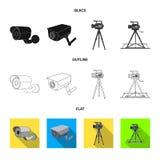 Διανυσματικό σχέδιο του camcorder και του εικονιδίου καμερών Συλλογή του camcorder και του διανυσματικού εικονιδίου ταμπλό για το διανυσματική απεικόνιση