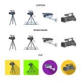 Διανυσματικό σχέδιο του camcorder και του εικονιδίου καμερών Σύνολο συμβόλου αποθεμάτων camcorder και ταμπλό για τον Ιστό διανυσματική απεικόνιση