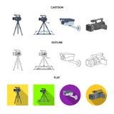Διανυσματικό σχέδιο του camcorder και του εικονιδίου καμερών Σύνολο camcorder και διανυσματικής απεικόνισης αποθεμάτων ταμπλό απεικόνιση αποθεμάτων