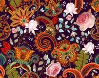 Διανυσματικό σχέδιο τριαντάφυλλων Paisley και τριαντάφυλλα Ζωηρόχρωμη άνευ ραφής floral ταπετσαρία, σκηνικό διανυσματική απεικόνιση