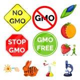 Διανυσματικό σχέδιο τροποποιημένος και γενετικά σύμβολο Συλλογή της τροποποιημένης και διανυσματικής απεικόνισης αποθεμάτων επιστ ελεύθερη απεικόνιση δικαιώματος