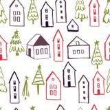 Διανυσματικό σχέδιο Χαρούμενα Χριστούγεννας με τα σπίτια διανυσματική απεικόνιση
