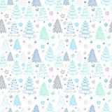 Διανυσματικό σχέδιο Χριστουγέννων με ζωηρόχρωμα fir-trees σε μια άσπρη πλάτη Στοκ Φωτογραφίες