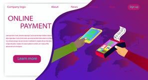 Διανυσματικό σχέδιο isometric στις σε απευθείας σύνδεση πληρωμές θέματος Κινητά μάρκετινγκ και ηλεκτρονικό εμπόριο, που απεικονίζ απεικόνιση αποθεμάτων
