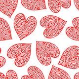 Διανυσματικό σχέδιο seamess με τις κόκκινες καρδιές Καρδιές με τη σπειροειδή διακόσμηση ελεύθερη απεικόνιση δικαιώματος
