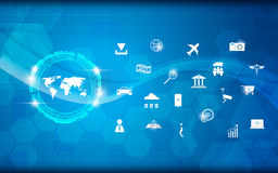 Διανυσματικό σχέδιο Διαδίκτυο επιστήμης και τεχνολογίας παγκόσμιων χαρτών αφηρημένο του υποβάθρου έννοιας πραγμάτων