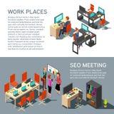 Διανυσματικό σχέδιο επιχειρησιακών εμβλημάτων με τους isometric ανθρώπους γραφείων εργασιακών χώρων σύγχρονους εσωτερικούς και τρ Στοκ Φωτογραφία