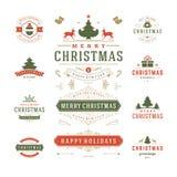 Διανυσματικό σχέδιο ετικετών και διακριτικών Χριστουγέννων απεικόνιση αποθεμάτων