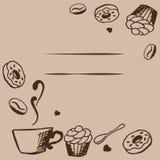 Διανυσματικό σχέδιο καρτών με συρμένη τη χέρι απεικόνιση καφέ και επιδορπίων Πρότυπο καφετεριών ή καφέδων Διακοσμητικό υπόβαθρο μ Στοκ Εικόνες