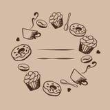 Διανυσματικό σχέδιο καρτών με συρμένη τη χέρι απεικόνιση καφέ και επιδορπίων Πρότυπο καφετεριών ή καφέδων ανασκόπηση διακοσμητική Στοκ φωτογραφία με δικαίωμα ελεύθερης χρήσης