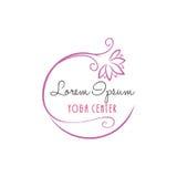 Διανυσματικό σχέδιο κεντρικών λογότυπων ομορφιάς γιόγκας λουλουδιών Lotus ελεύθερη απεικόνιση δικαιώματος