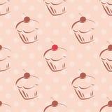 Διανυσματικό σχέδιο κεραμιδιών με τα cupcakes και τα σημεία Πόλκα στο ρόδινο υπόβαθρο Στοκ φωτογραφίες με δικαίωμα ελεύθερης χρήσης