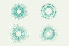 Διανυσματικό σχέδιο κύκλων τεχνολογίας εικονιδίων καθορισμένο Στοκ φωτογραφία με δικαίωμα ελεύθερης χρήσης