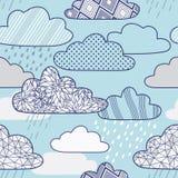 Διανυσματικό σχέδιο με τα σύννεφα και τη βροχή Στοκ Εικόνα