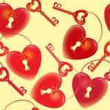 Διανυσματικό σχέδιο με την κλειδαρότρυπα κλειδιών και καρδιών Απεικόνιση αποθεμάτων