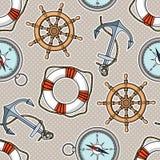 Διανυσματικό σχέδιο με τις άγκυρες, lifebuoies, ρόδες σκαφών, πυξίδες Στοκ φωτογραφίες με δικαίωμα ελεύθερης χρήσης